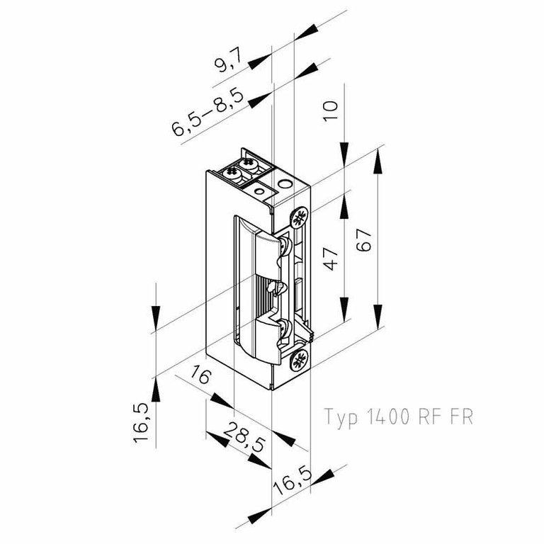 elektrischer t r ffner typ 1410 rf fr 12 24v ac dc. Black Bedroom Furniture Sets. Home Design Ideas
