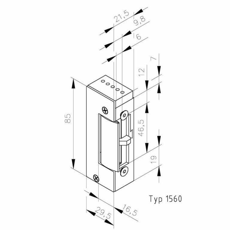 elektrischer t r ffner typ 1560 12v dc arbeitsstrom. Black Bedroom Furniture Sets. Home Design Ideas