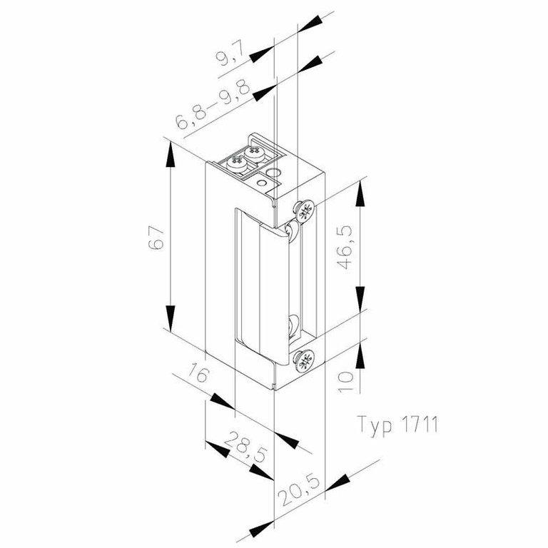 elektrischer t r ffner typ 1711 12 24v dc ruhestrom. Black Bedroom Furniture Sets. Home Design Ideas